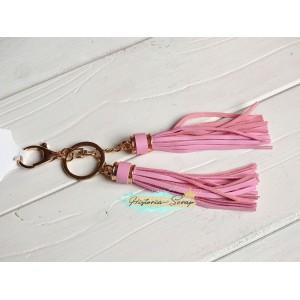 """Подвеска """"Кисточки"""" из кожзама, цвет розовый + золото, длина 18 см, 1 шт"""
