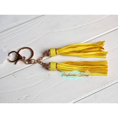 Подвеска Кисточки из кожзама, цвет желтый + золото, длина 18 см, 1 шт