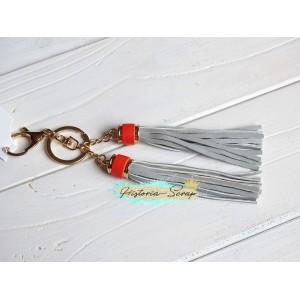 """Подвеска """"Кисточки"""" из кожзама, цвет серо-оранжевый + золото, длина 18 см, 1 шт"""