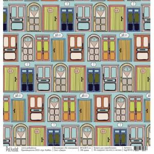 """Бумага для скрапбукинга """"Двери"""", коллекция """"На чемоданах"""", 30,5*30,5 см"""