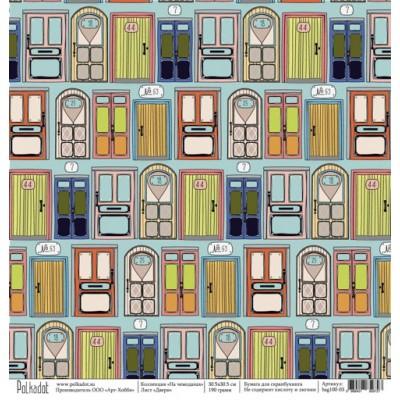 Бумага для скрапбукинга Двери, коллекция На чемоданах, 30,5*30,5 см