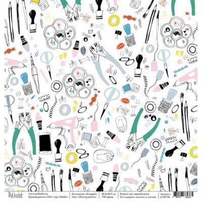 Бумага для скрапбукинга Инструменты, коллекция Scrapgirl, 30,5*30,5 см