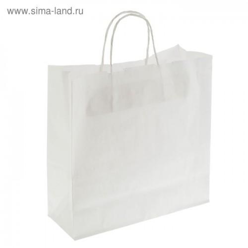 """Пакет крафт """"Радуга"""" белый, 32 х 12 х 32 см, белая ручка"""