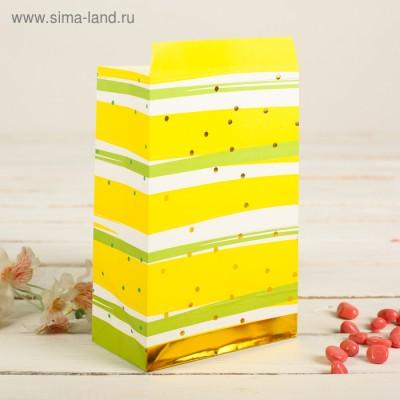 Пакет фасовочный с плоским дном 20 х 13 х 7,5 см, цвет желтый+полоска и золотой горошек
