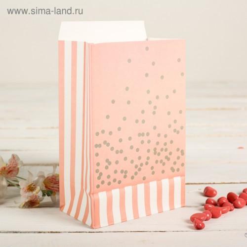 Пакет фасовочный с плоским дном, цвет светло-розовый+золотой горошек, 20 х 13 х 7,5 см