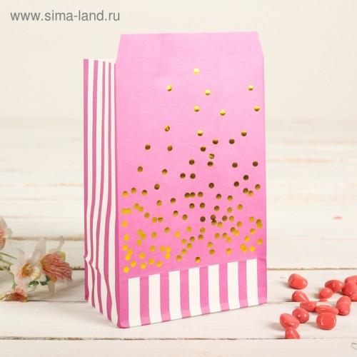 Пакет фасовочный с плоским дном 20 х 13 х 7,5 см, цвет розовый+золотой горошек