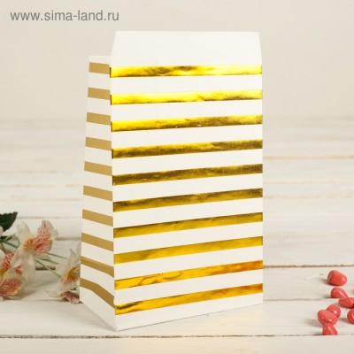 """Пакет фасовочный с плоским дном """"Золотые полоски"""", 20 х 13 х 7,5 см"""