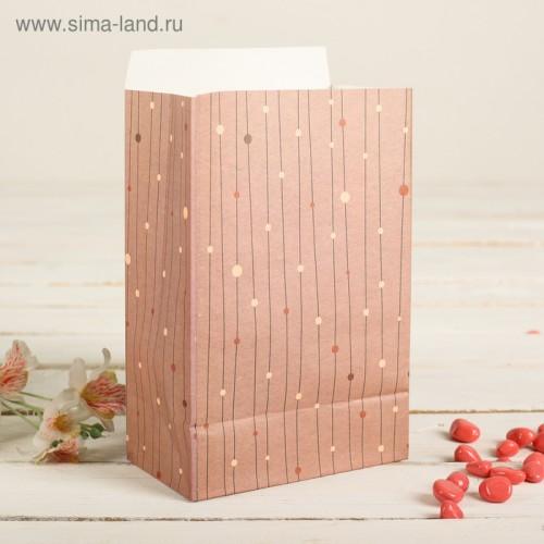 Пакет фасовочный с плоским дном, цвет серо-розовый+горошки, 20 х 13 х 7,5 см