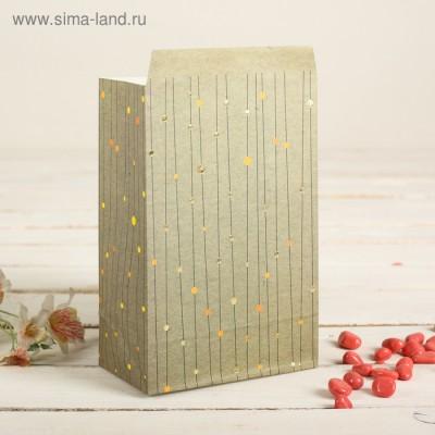 Пакет фасовочный с плоским дном, цвет серо-зеленый+горошки, 20 х 13 х 7,5 см