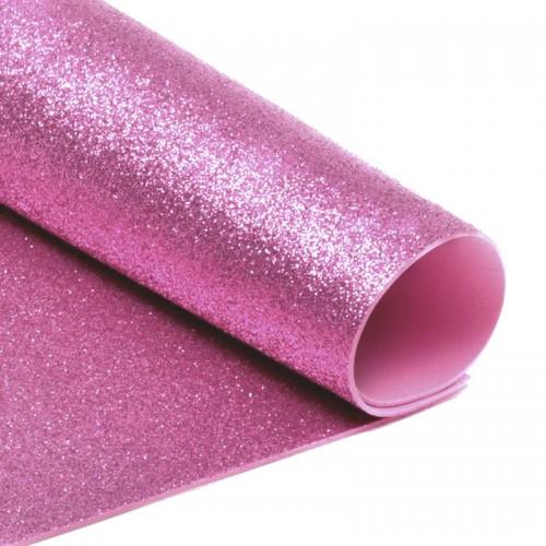 Фоамиран глиттерный, цвет розовый, толщ. 2 мм, А4