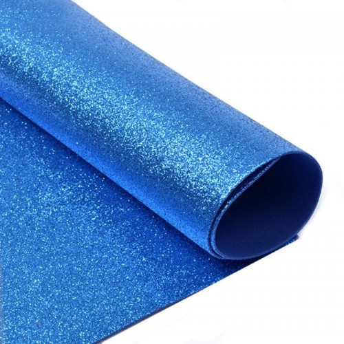 Фоамиран глиттерный, цвет синий, толщ. 2 мм, А4