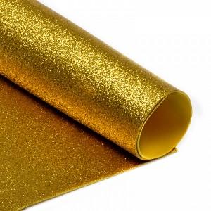 Фоамиран глиттерный, цвет золото, толщ. 2 мм, А4