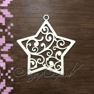 Чипборд картонный Звезда с завитками