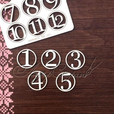 Чипборд картонный Цифры в кружочках, 25*25 мм
