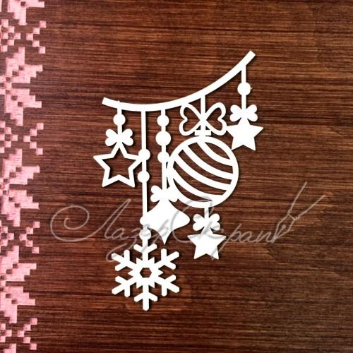 Чипборд картонный Новогодняя гирлянда, 53*81 мм