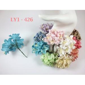 Цветы бумажные для скрапбукинга - лилии, пастельный микс, диам. 3,75 см, 10 шт