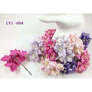 Цветы бумажные для скрапбукинга - лилии, розово-сиреневый микс, диам. 3,75 см, 5 шт