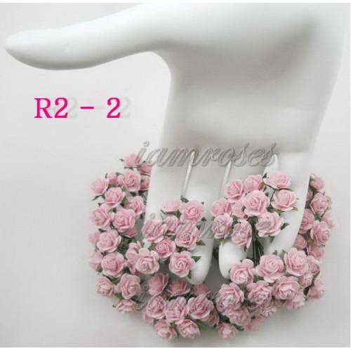 Цветы бумажные для скрапбукинга - мини розы, цвет нежно-розовый, диам. 1 см, 5 шт