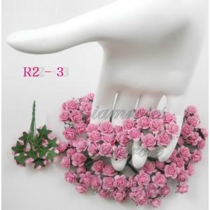 Цветы бумажные для скрапбукинга - мини розы, цвет розовый, бумага Mulberry, диам. 1 см, 5 шт