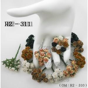Цветы бумажные для скрапбукинга - мини розы, черно-коричневый микс, диам. 1 см, 5 шт