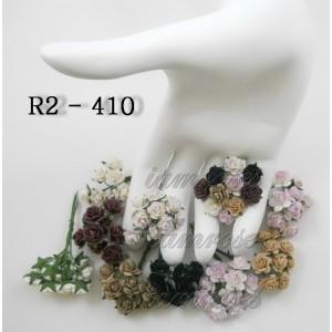 Цветы бумажные для скрапбукинга - мини розы, черно-филетовый микс, диам. 1 см, 10 шт