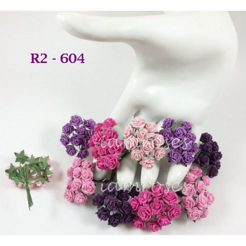 Цветы бумажные для скрапбукинга - мини розы, розово-фиолетовый микс, диам. 1 см, 5 шт