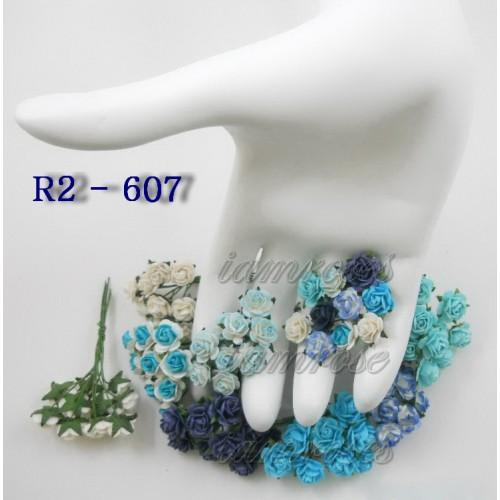 Цветы бумажные для скрапбукинга - мини розы, сине-голубой микс, диам. 1 см, 12 шт
