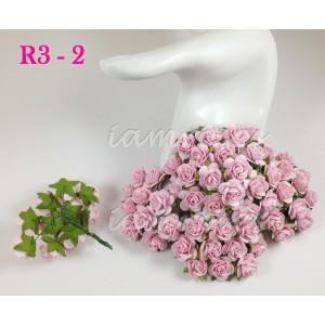 Цветы бумажные для скрапбукинга - розы, цвет нежно-розовый, бумага Mulberry, диам. 2 см, 5 шт
