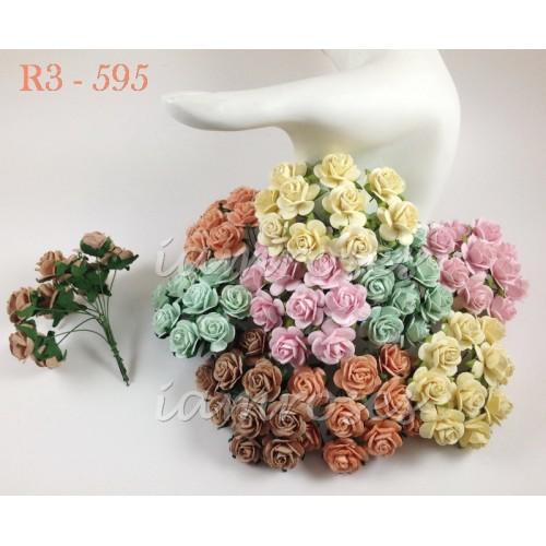 Цветы бумажные для скрапбукинга - розы, пастельный микс, бумага Mulberry, диам. 2 см, 5 шт