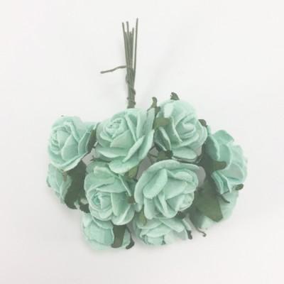 Цветы бумажные для скрапбукинга - мини-розы, цвет мятный, диам. 1,5 см, 5 шт