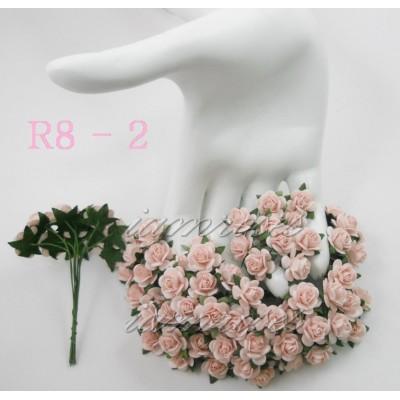 Цветы бумажные для скрапбукинга - мини-розы, цвет нежно-розовый бумага Mulberry диам. 1,5 см, 5 шт
