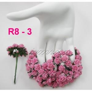 Цветы бумажные для скрапбукинга - мини-розы, цвет розовый бумага Mulberry диам. 1,5 см, 5 шт