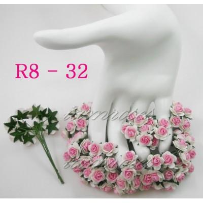 Цветы бумажные для скрапбукинга - мини-розы, цвет белый и розовый, бумага Mulberry диам. 1,5 см, 5 шт