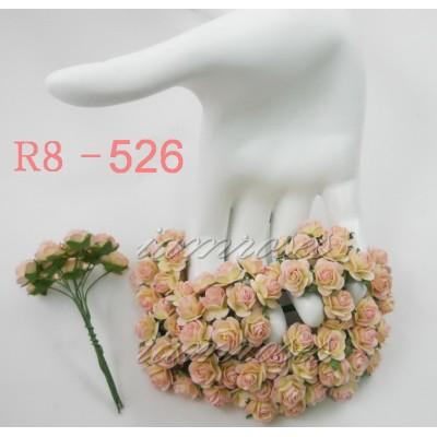 Цветы бумажные для скрапбукинга - мини-розы, цвет розово-кремовый, диам. 1,5 см, 5 шт