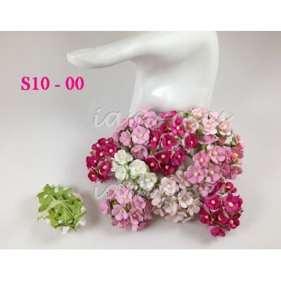 Цветы бумажные для скрапбукинга - цветы вишни маленькие, розовый микс, диам. 1,5 см, 10 шт