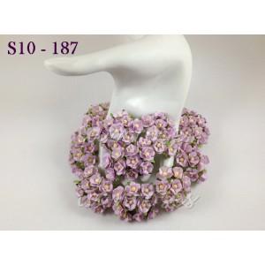 Цветы бумажные для скрапбукинга - цветы вишни маленькие, цвет нежно-сиреневый, диам. 1,5 см, 10 шт