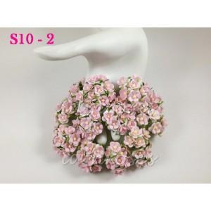 Цветы бумажные для скрапбукинга - цветы вишни маленькие, цвет светло-розовый, диам. 1,5 см, 10 шт