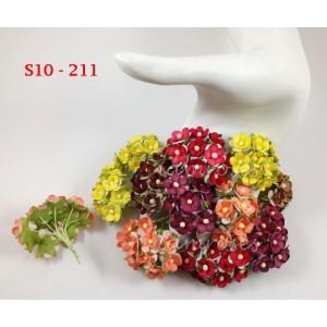 Цветы бумажные для скрапбукинга - цветы вишни маленькие,осенний микс, диам. 1,5 см, 10 шт
