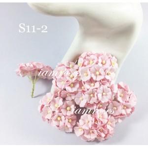 Цветы бумажные для скрапбукинга - цветы вишни средние, цвет нежно-розовый, диам. 2 см, 5 шт
