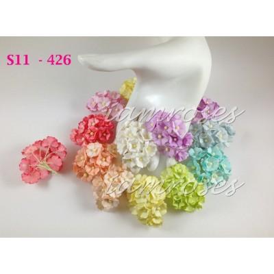 Цветы бумажные для скрапбукинга - цветы вишни средние, пастельный микс, диам. 2 см, 5 шт