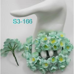 Цветы бумажные для скрапбукинга - цветы вишни, цвет мятный, диам. 2,5 см, 1 шт