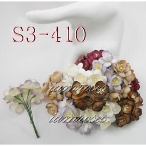Цветы бумажные для скрапбукинга - цветы вишни, микс, диам. 2,5 см, 5 шт