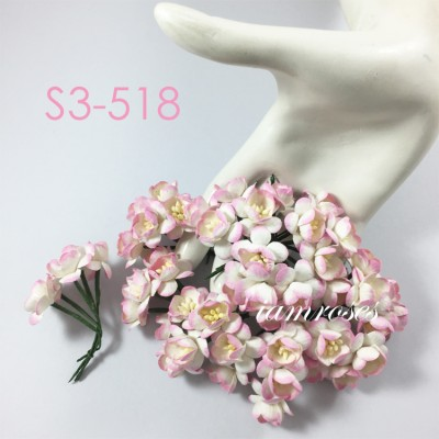 Цветы бумажные для скрапбукинга - цветы вишни, цвет бело-розовый, диам. 2,5 см, 1 шт