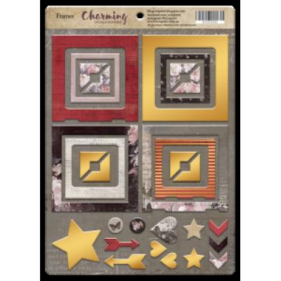 """Рамки из чипборда с фольгированием (золото) для скрапбукинга """"Charming"""", 30шт"""