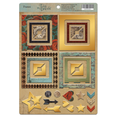 """Рамки из чипборда с фольгированием (золото) для скрапбукинга """"Time to Dream"""",  30шт"""