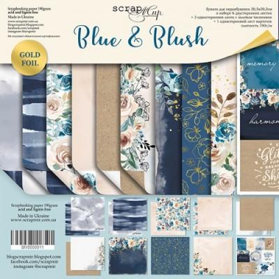 Набор бумаги для скрапбукинга с золотым тиснением Blue & Blush, 30 х 30см