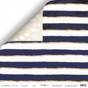 "Бумага двусторонняя 30x30 см ""Море"" из коллекции ""Nautical Graphic"""