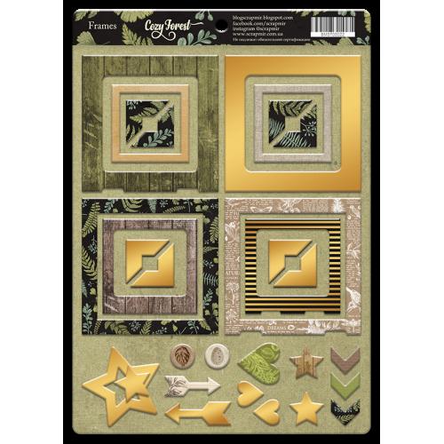 Рамки из чипборда с фольгированием (золото) для скрапбукинга Cozy Forest, 30 шт
